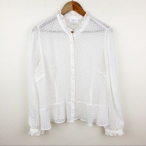 LOFT Sheer Long Sleeve Ruffle Swiss Dot Blouse